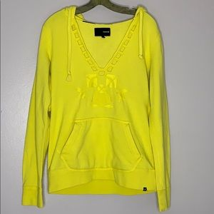 Hurley Embroidered Yellow V Neck Hoodie Sz Large